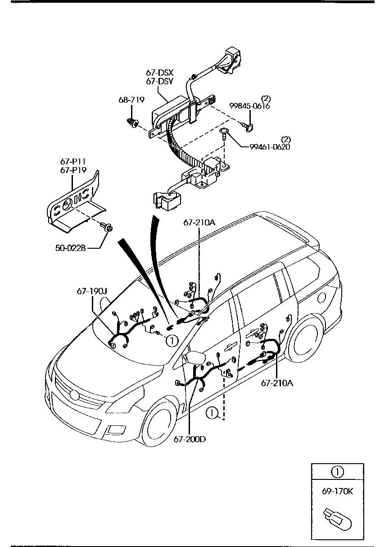 Mazda Mpv Ly3p Ajlv07 Body Interior 6703 No1 67dsy Car Parts Accessories Wire Harness Door Floor Sealing